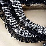 Hohe Qualität 5 yards, 6 cm breite weiß schwarz plaids satinband plissierte spitze kragen streifen...