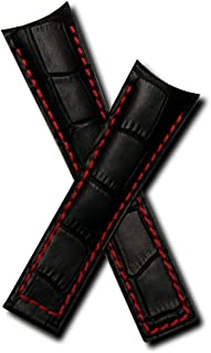 22mm Black Alligator-Style Genuine Leather Watchband with Red Stitching to fit TAG Heuer Grand Carrera (Spring Bars Included)
