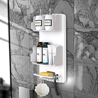 TROPICALTREE Shower Caddy - Plastic Shower Organizer Hanging, No Drilling Bathroom Organizer with 6Hook, Baffle Anti-Drop Design, Removable Shower Holder for Shampoo and Soap is Easy to Clean