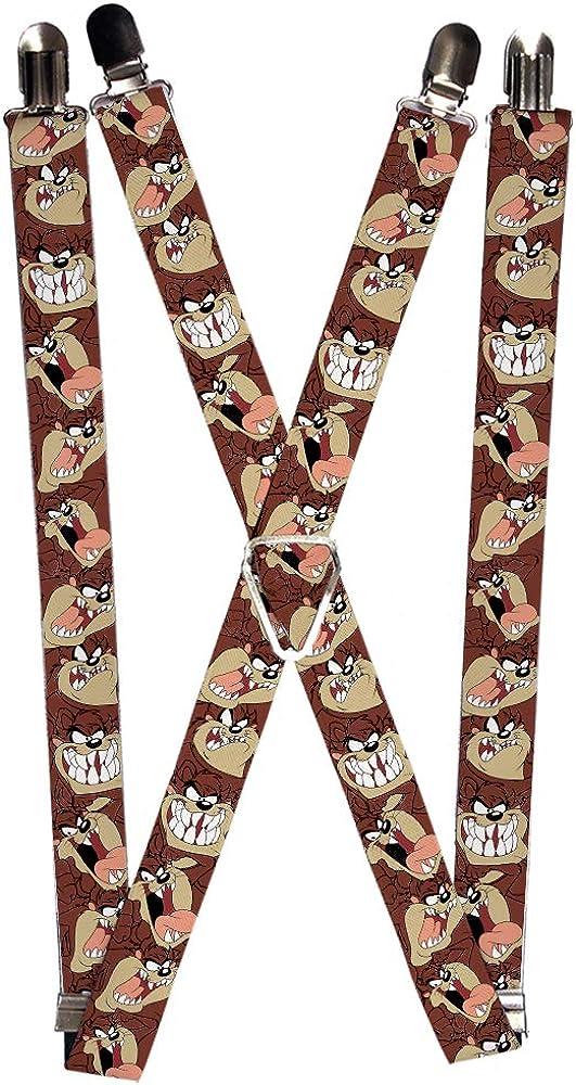 Buckle-Down Men's Suspenders-Tasmanian Devil Expressions Brown