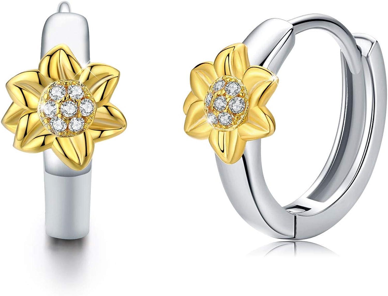 Sunflower Earrings, Sunflower Hoop Earrings 925 Sterling Silver