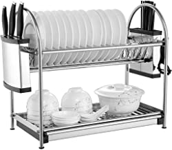 Tableware Storage, Drain Rack/Kitchen Dish Drainer Drying Rack Multifunction 2-Tier Rust-proof Stainless Steel Dish Rack Holder Drainer Organization Shelf with Drip Tray (Size : 50×26.5×45cm)