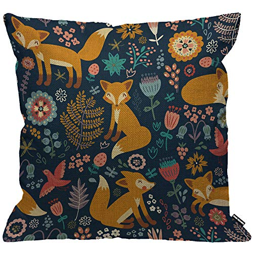 HGOD DESIGNS Fox Pattern Cushion Cover,Cute Kinds of Fox with Flower Yellow Blue Throw Pillow Case Home Decorative for Men/Women Living Room Bedroom Sofa Chair 18X18 Inch Pillowcase 45X45cm