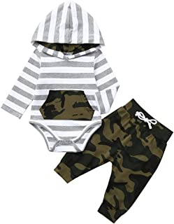 GoodLock Baby Boys Girls Fashion Clothes Infant Long Sleeve Striped Hoodie Romper Jumpsuit+ Camouflage Pants Outfits 2Pcs