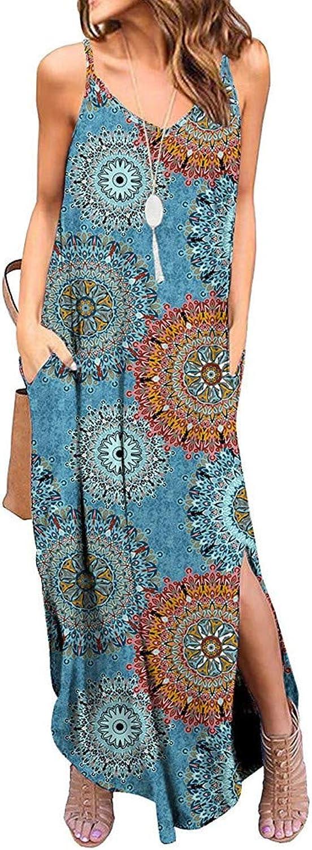 Sayolala Women's Dresses Bohemian Loose Sexy VNeck Sleeveless Strap Long Maxi Dress with Pockets