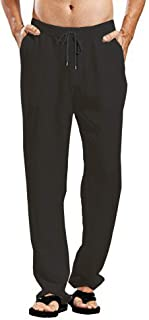 Mens Linen Cotton Joggers Loose Lightweight Slacks Beach Fashion Casual Yoga Pants