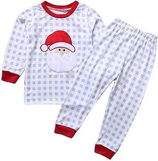 POLP Pijama Bebe Niño Nina A Rayas y Cuadros Conjunto de Camisetas y Pantalones con Estampado de Santa Claus Traje Bebe Pijamas de Manga Larga Dos Piezas Unisex