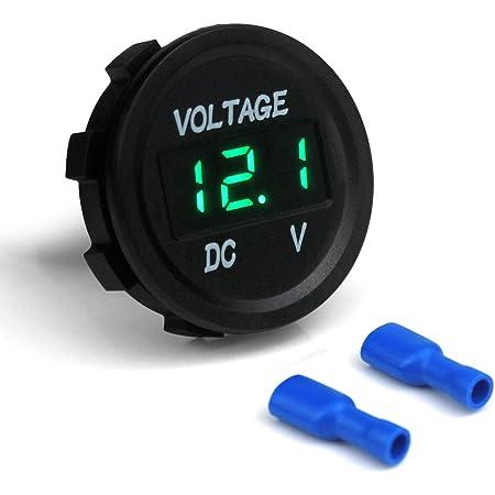 Winomo Dc 12v 24v Led Anzeige Digital Voltmeter Spannungsmesser Für Auto Motorrad Lkw Boot Marine Blaues Licht Auto
