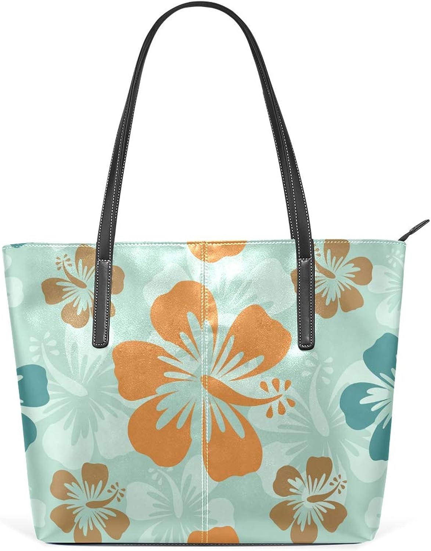 bluee Hawaiian Hibiscus Flowers Art Women's Soft Leather Handbag Shoulder Bag Large Capacity Tassel Handbag Casual Pu Leather Handbag Ladies Metal Decorative Handbag