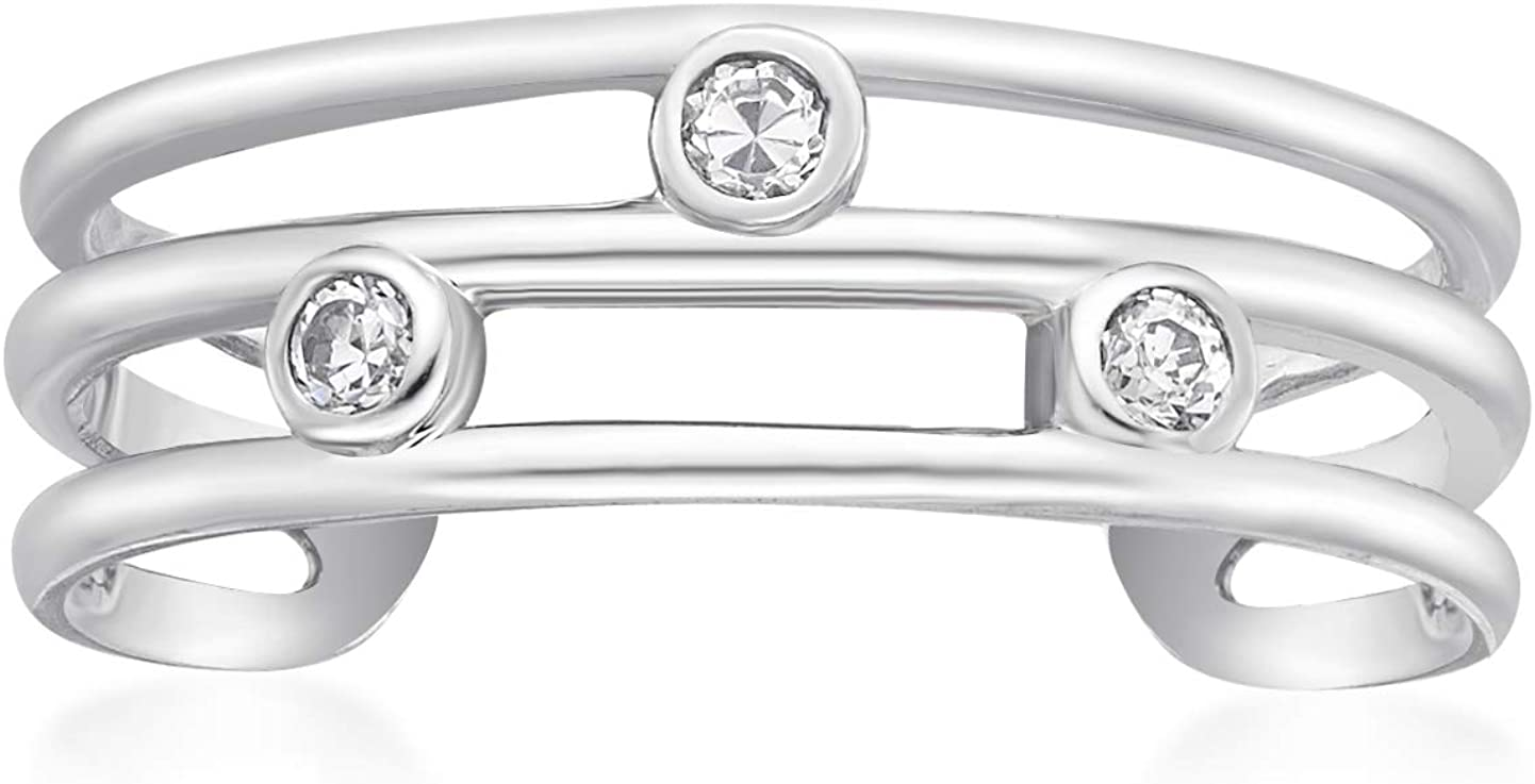 Cubic Zirconia Triple Band Toe Ring for Women in 10k White Gold 5 mm by Lavari Jewelers
