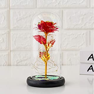 Dream of Flowers Beauty and The Beast Red Rose in Glass Dome on Wood Base, DELFINO 20 LED Lights Forever Perfect Silk Rose...