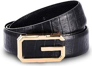 Suit Pants Belt Business Layer Leather Belt with Smooth Buckle for Men Casual Belt (Color : Black-1, Size : 125cm)