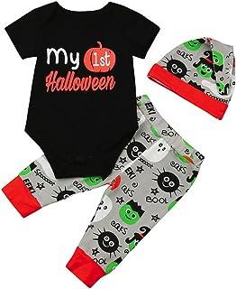 KOLY 3Pcs I Vestiti del di Halloween delle dei Ragazzi dei Neonati + ansimano i stabiliti di Cappotto Floreale neonata Met...