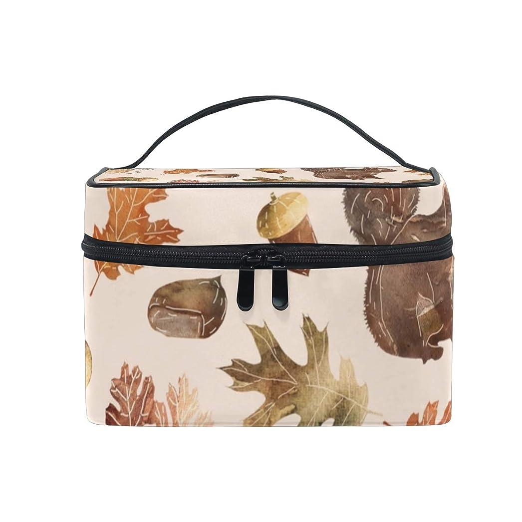 祈る個人的にスカートメイクボックス 水彩秋柄 化粧ポーチ 化粧品 化粧道具 小物入れ メイクブラシバッグ 大容量 旅行用 収納ケース