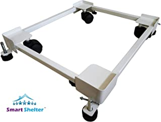 Smart Shelter Premium Heavy Duty Front/Top Load Washing Machine/Refrigerator/Dishwasher Stand/Trolley (100% Made of Metal) (White)