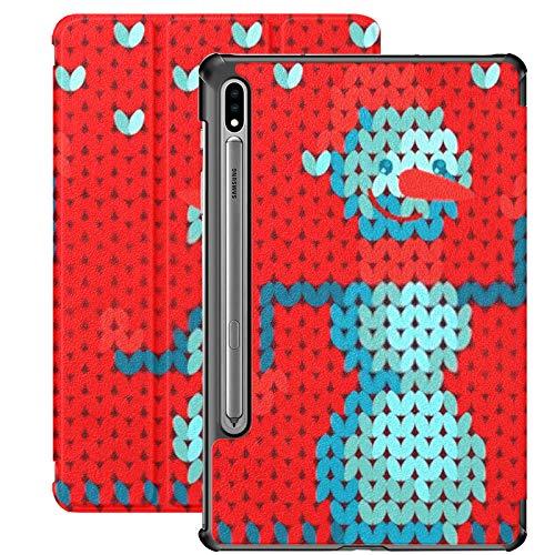 Funda Galaxy Tablet S7 Plus de 12,4 Pulgadas 2020 con Soporte para bolígrafo S, patrón de muñeco de Nieve de Punto Vectorial en Funda Protectora Tipo Folio con Soporte Delgado Rojo para Samsung