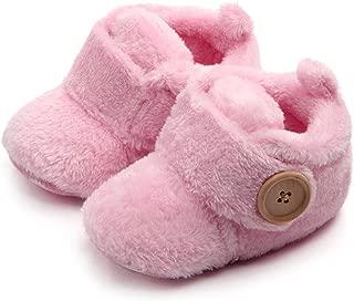 Newborn Baby Fleece Booties, Unisex Round Toe Flats Toddler First Walkers Soft Slippers