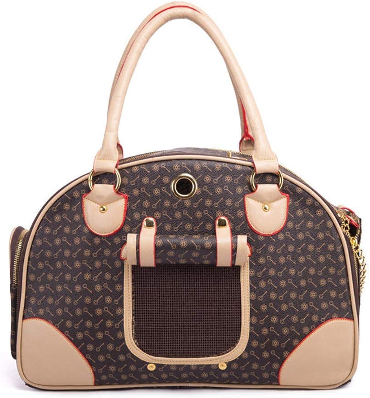 HYUE Pet Bag PU Backpack Pet Out Bag Portable Pet Bag Portable pet Travel Bag (color   Brown, Size   S)