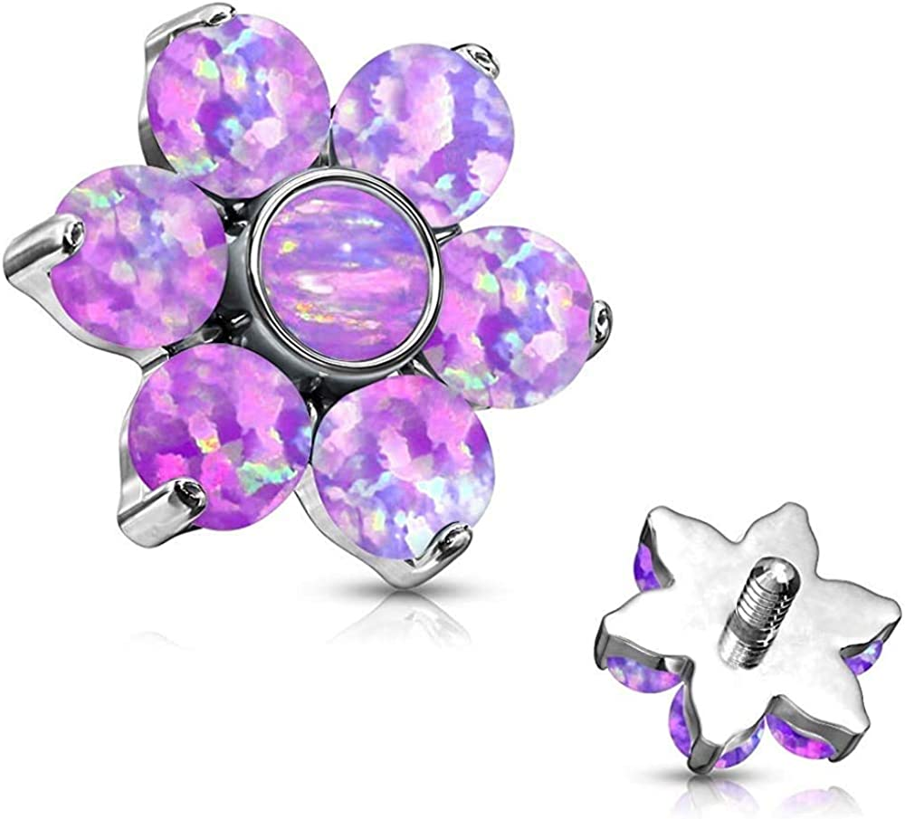 Covet Jewelry Opal Prong Set Flower 316L Surgical Steel Internally Threaded Top Parts for Labret, Dermal and More
