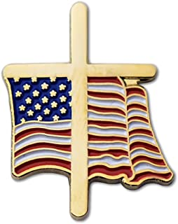 American Flag Gold Cross Enamel Lapel Pin 1
