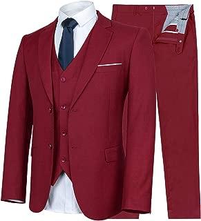 Men's Suit Slim Fit 3 Piece Suit Blazer Two Button Tuxedo Business Wedding Party Jackets Vest&Trousers