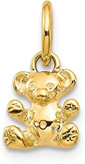 14k Yellow Gold Teddy Bear Pendant Charm Necklace Baby Animal Fine Jewelry For Women