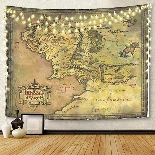 Yhjdcc Tapisserie Kunst Wandbehang Karte von Mittelerde Wandteppiche Matratze Tischdecke Vorhang Home Dekoration Drucken 150cm x 200 cm