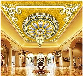3D Wallpaper, Mural, Ceiling, Silk Cloth Round Carved European Border Zenith Mural Ceiling Wallpaper,300X210cm,Ayzr
