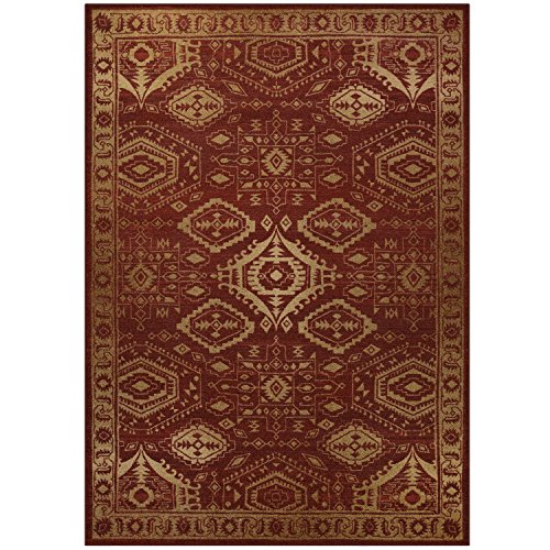 Maples Rugs Georgina Traditional Area Rugs for Living Room & Bedroom [Made in USA], 7 x 10, Red/Gold