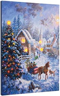 Ohio Wholesale Lighted Sleigh Bells Horse 20 X 16 Canvas Light up Picture