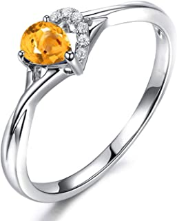 Gnzoe Jewelry-925 Sterling Silver Women Pear-Shaped Engagement Ring Yellow Created-Citrine November Birthstone