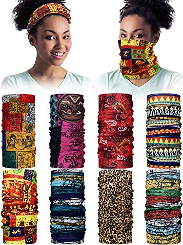 8 Pieces African Face Cover Bandanas Boho Neck Gaiter Balaclava Head Wrap Scarf for Women