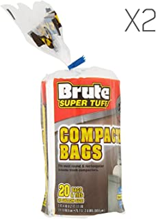 Brute Super Tuff (2 Pack Heavy Duty 20 Gallon Size Compactor/Kitchen Bags - White