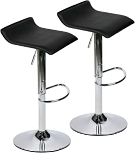 Modern Simplicity Bar Stools, Set of 2 Swivel Barstool with Adjustable Height,360 ° Rotation PU Leather Backless Stools,for Kitchen, Bistro, Pub,Black