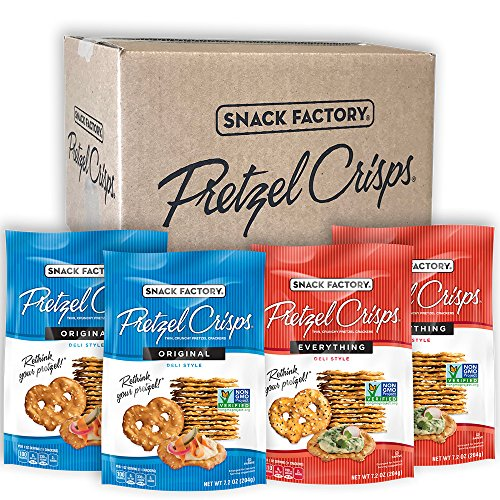 Snack Factory Pretzel Crisps Original and Everything Flavors, 7.5 Ounce, 2 Each (Pack of 4)