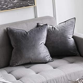 MIULEE Pack of 2 Decorative Velvet Throw Pillow Cover Soft Grey Pillow Cover Soild Square Cushion Case for Sofa Bedroom Car 18x 18 Inch 45x 45cm