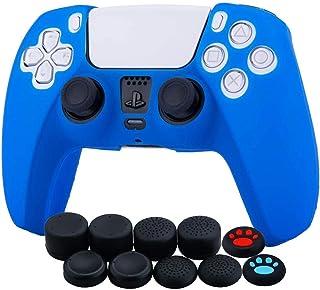 Funda protectora para elcontrolador PS5 Dualsense x 1 (azul) con agarrespara elpulgar x 10