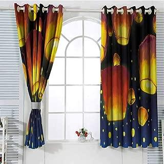 Jinguizi Grommet Window Curtain Room Decor for Boys Lantern,Floating Fanoos Like Devices on Sky Festive Auspicious Culture Chinese,Dark Blue Orange Doorway Curtain 55 x 40 inch