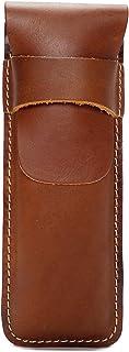 Retro Leather Bag Leather Cowhide Vertical Bag Buckle Unisex (Color : Orange, Size : S)