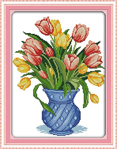 Happy Forever Cross Stitch Kits 11CT Stamped Patterns for Kids and Adults, Preprinted Embroidery kit for Beginner, Blessing of Flowers (H335 Tulip vase 2, Size 13''x16'')