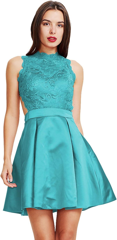 YOUTODRESS Short Prom Homecoming Dresses Lace High Neck Women Formal Dress Knee Length