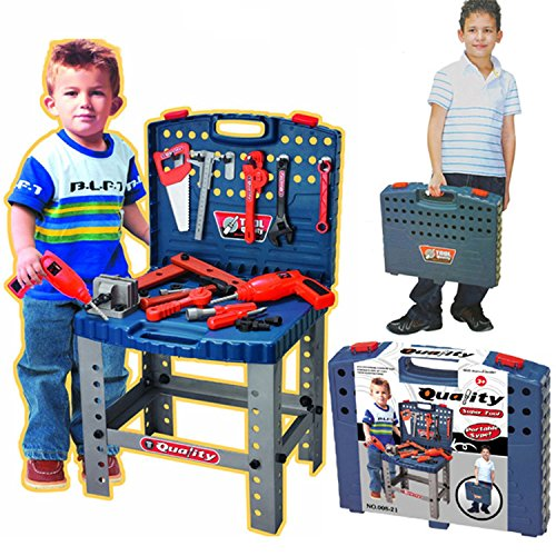 Realistic Toy Tool Set Workbench Kids Workshop Toolbench with