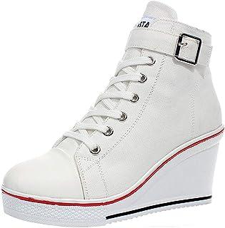 wealsex Sneaker Donna Zeppe High-Top Donna Scarpe Buckle Tela Scarpe da Moda Sneaker