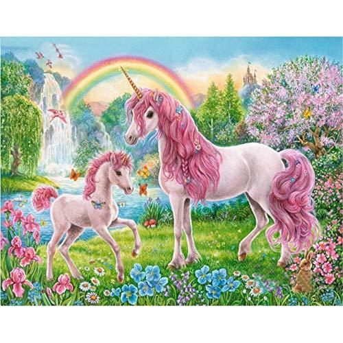 ZHXX Schilderij door cijfers voor volwassenen op canvas 40X50Cm Digitale Roze Eenhoorn Paard Dier DIY Modern Wall Art Canvas Schilderij Cadeau voor Kinderen Home Decor Without Frame