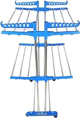 LAKSHAY 2TIER Stainless Steel, Plastic, Steel Floor Cloth Dryer Stand