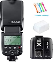 Godox TT600S HSS 1/8000s GN60 Built-In 2.4G Wireless X System Flash Speedlite Light with X1T-S Remote Trigger Transmitter Compatible for Sony Multi Interface MI Shoe Cameras&Diffuser &CONXTRUE USB LED