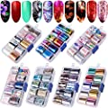 Duufin 70 Colors Nail Foil Stickers Starry Sky Nail Foil Adhesive Transfer Sticker Flower Foil Nail Art Polish Stickers Nail Decals Foil Transfer Adhesive Acrylic DIY Decoration Kit