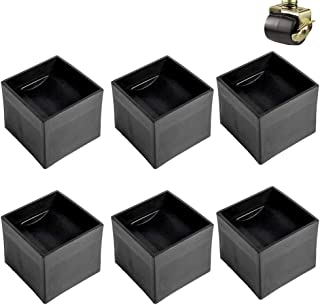 MEETWARM 6 Pack Square Elevator 2 Inch Bed Risers for Casters Wheels, Furniture Stopper Cups Roller Grip for Dorm Bed Chair Sofa Table (Black)