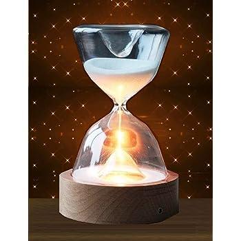 MedianField 【 インテリア 光る led 砂時計 15分 usb リモコン プレゼントボックス 付き 】 間接照明 おしゃれ 照明 ライト プレゼント 小物 北欧 風 卓上 雑貨 癒し ナチュラル 置物 飾り 癒しグッズ ガラス 木製 (光る 砂時計)