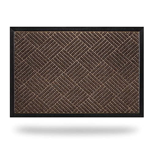 CORFEEL 玄関マット ドアマット 泥落としマット 屋内 屋外 業務用 家庭用 (43x74cm, ブラウン)